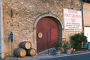 Chateau haut Ligieres wine shop, winery and tasting room. Faugeres. Languedoc. A door. France. Europe.