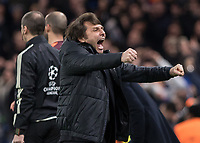 Football - 2017 / 2018 UEFA Champions League - Round of Sixteen, First Leg: Chelsea vs. Barcelona<br /> <br /> Antonio Conte, Manager of Chelsea FC, celebrates his team taking the lead at Stamford Bridge.<br /> <br /> COLORSPORT/DANIEL BEARHAM