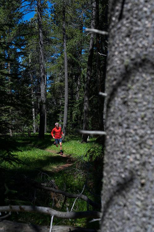 Tim Banfield trail running on Plateau Trail in Cypress Hills Provincial Park, Elkwater, Alberta, Canada
