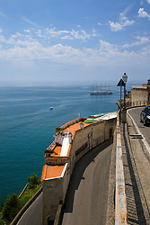 Winding road Amalfi Coast.  Real estate is in short supply on the steep Amalfi Coast.  I found the homes built between the switchbacks of the road amazing. The Royal Clipper, the fastest sailing schooner of the world is moored off Amalfi Harbor.