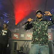 "AUSTIN, TX - March 19th, 2011: Rapper Lil B The BasedGod headlines the last night of the Fader Fort by Fiat. He was introduced by Sean ""P Diddy"" Combs (left).  Combs later took to the stage to perform. (Photo by Kyle Gustafson/For The Washington Post)"