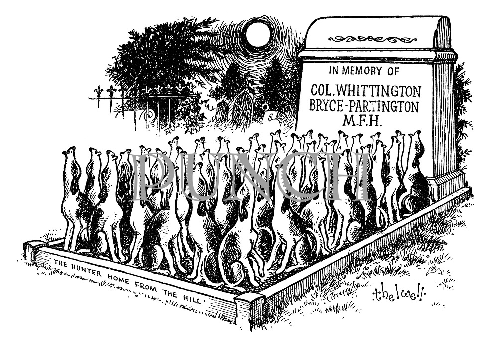 (A pack of fox hounds howl at the grave of the  master of fox hounds)