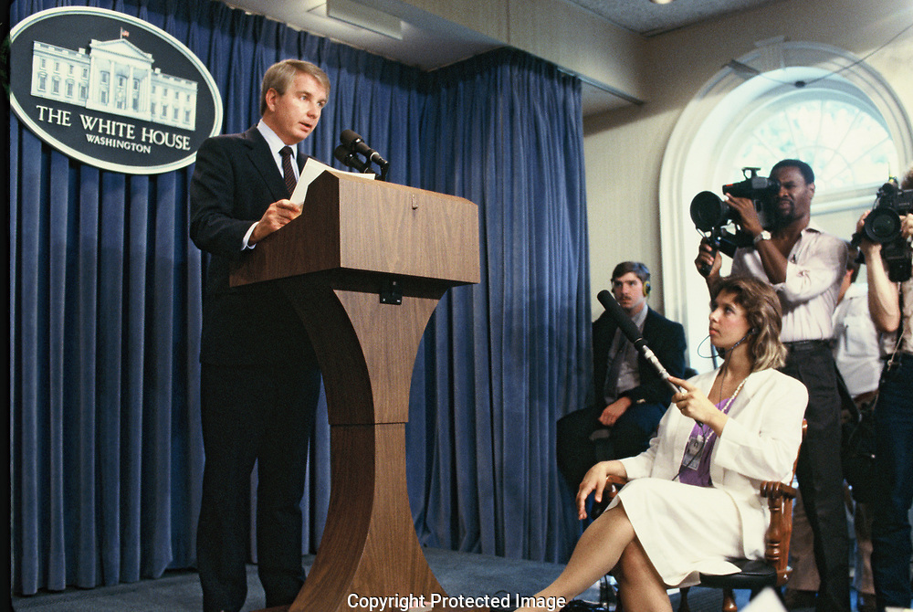 Washington DC 1986/08/01  White House Press Secretary Larry Speakes at a briefing in the White House Press Briefing Room<br />Photo by Dennis Brack