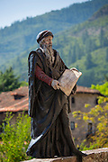Statue of apostle on Pilgrim's Way at Potes in Picos de Europa, Asturias, Northern Spain RESERVED USE