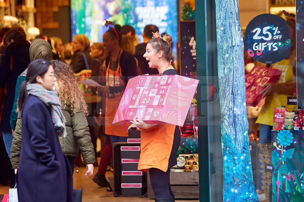 © Licensed to London News Pictures. 23/11/2018. LONDON, UK.  Shoppers in Oxford Street on Black Friday. In this picture: Body Shop.  Photo credit: Cliff Hide/LNP