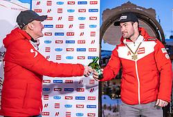 11.02.2021, Cortina, ITA, FIS Weltmeisterschaften Ski Alpin, Super G, Herren, Medaillenfeier, im Bild v.l. Andreas Puelacher (Sportlicher Leiter ÖSV Ski Alpin Herren), Vincent Kriechmayr (AUT, Goldmedaille) // left to right: Andreas Puelacher Austrian Ski Association head Coach alpine Men's Gold medal winner and world champion Vincent Kriechmayr of Austria during the Medal celebration after the mens Super G of FIS Alpine Ski World Championships 2021 in Cortina, Italy on 2021/02/11. EXPA Pictures © 2021, PhotoCredit: EXPA/ Johann Groder