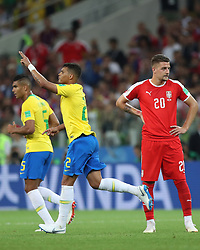 MOSCOW, June 27, 2018  Thiago Silva (C) of Brazil celebrates scoring during the 2018 FIFA World Cup Group E match between Brazil and Serbia in Moscow, Russia, June 27, 2018. (Credit Image: © Xu Zijian/Xinhua via ZUMA Wire)