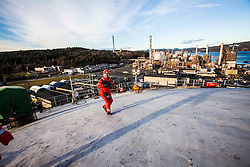 On the roof of the new ethane tank at the Rafnes site in Norway.<br /> INEOS Rafnes plant, in Norway, as part of an INEOS Media Trip.
