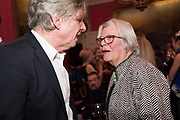COSMO LANDESMAN, LYNN BARBER, Literary Review  40th anniversary party and Bad Sex Awards,  In & Out Club, 4 St James's Square. London. 2 December 2019