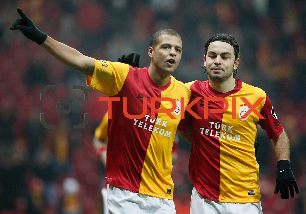 Galatasaray's Felipe Melo celebrate his goal with team mate during their Turkish Super League soccer match Galatasaray between Kardemir Karabukspor at the Turk Telekom Arena at Seyrantepe in Istanbul Turkey on Saturday 14 January 2012. Photo by TURKPIX