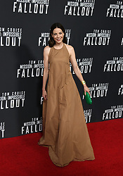 Actress Michelle Monaghan poses for a picture during the U.S Premiere of 'Mission: Impossible - Fallout' at the National Air and Space Museum on July 22, 2018 in Washington, DC. Photo by Olivier Douliery/ Abaca Press