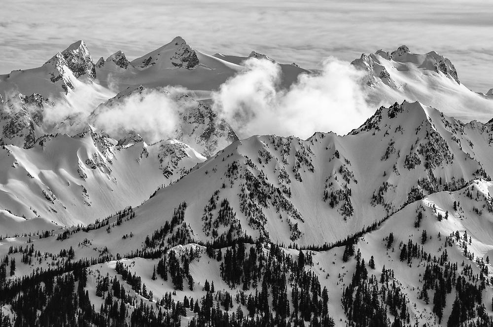 Elwha River Drainage, Olympic Mountains view from Hurricane Ridge, Olympic National Park, Washington, USA