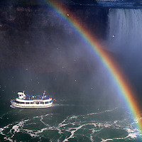 Canada, Ontario, Niagara Falls. Maid of the Mist at Niagara Falls.