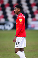 Salford City's Di'shon Bernard (12) in action during the EFL Sky Bet League 2 match between Newport County and Salford City at Rodney Parade, Newport, Wales on 16 January 2021.