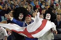 Photo: Richard Lane.<br />France v England. Semi-Final, at the Telstra Stadium, Sydney. RWC 2003. 16/11/2003. <br />England and France fans enjoy the atmosphere.