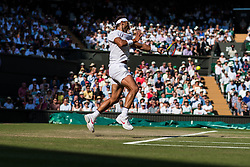 July 11, 2018 - London, England, U.S. - LONDON, ENG - JULY 11: RAFAEL NADAL (ESP) during day nine match of the 2018 Wimbledon on July 11, 2018, at All England Lawn Tennis and Croquet Club in London,England. (Photo by Chaz Niell/Icon Sportswire) (Credit Image: © Chaz Niell/Icon SMI via ZUMA Press)