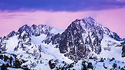 Dawn light on Mount Ritter, Ansel Adams Wilderness, Sierra Nevada Mountains, California USA
