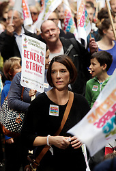 Licensed to London News Pictures 17/10/2013<br /> London, UK. <br /> Teachers on strike and march through central London, protesting pay cuts by the Tory government. <br /> Photo credit: Anna Branthwaite/LNP