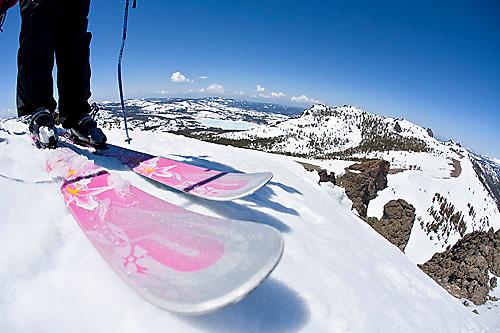 Skier looking over edge at Kirkwood ski resort near Lake Tahoe, CA.<br />