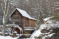 67395-04208 Glade Creek Grist Mill in winter, Babcock State Park, WV