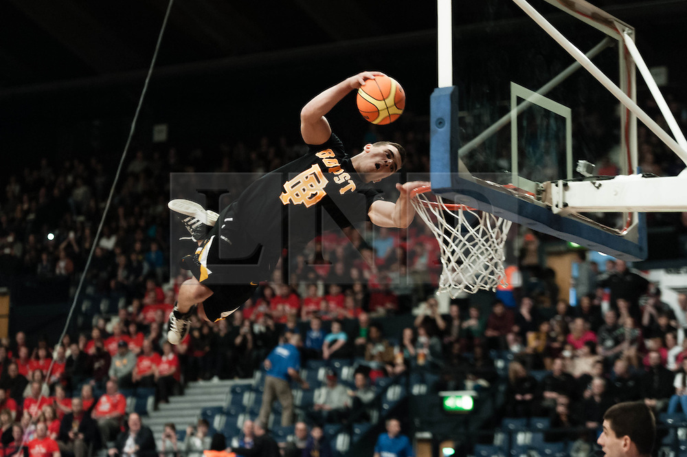 © Licensed to London News Pictures. 28/04/2013. London, UK. The acrobatic basketball slam-dunk group The Lords of Gravity entertain the crowd during a break at the playoff final of the British Basketball League 2013 where he Leicester Riders play the Newcastle Eagles.  The Newcastle Eagles are defending their title having won it in 2012.  The British Basketball League (BBL), is the premier men's professional basketball league in the United Kingdom. The BBL runs two knockout competitions alongside the league Championship; the BBL Cup and the BBL Trophy, as well as the post-season Play-offs.  Photo credit : Richard Isaac/LNP