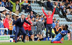 Peterborough United Manager Grant McCann celebrates his sides second goal with goalscorer Junior Morias - Mandatory by-line: Joe Dent/JMP - 23/09/2017 - FOOTBALL - ABAX Stadium - Peterborough, England - Peterborough United v Wigan Athletic - Sky Bet League One