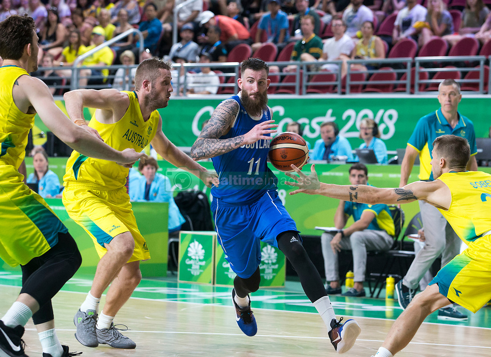 Handout photo dated 14/04/2018 provided by Jeff Holmes of Scotland's Gareth Murray in the Men's Semifinal Basketball at the Gold Coast Convention and Exhibition Centre during day ten of the 2018 Commonwealth Games in the Gold Coast, Australia. Issue date: Saturday April 14, 2018. See PA story COMMONWEALTH Basketball. Photo credit should read Jeff Holmes/PA Wire. NOTE TO EDITORS: This handout photo may only be used in for editorial reporting purposes for the contemporaneous illustration of events, things or the people in the image or facts mentioned in the caption. Reuse of the picture may require further permission from the copyright holder.