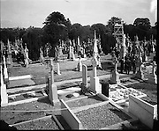Funeral of Eamon DeValera.   (J72)..1975..02.09.1975..09.02.1975..2nd September 1975..Today saw the funeral of Eamon DeValera. He was laid to rest beside his wife Sinead in Glasnevin Cemetery,Dublin. Dignitries from all around the world attended at the funeral..A general view of the cemetery where the funeral was about to take place.
