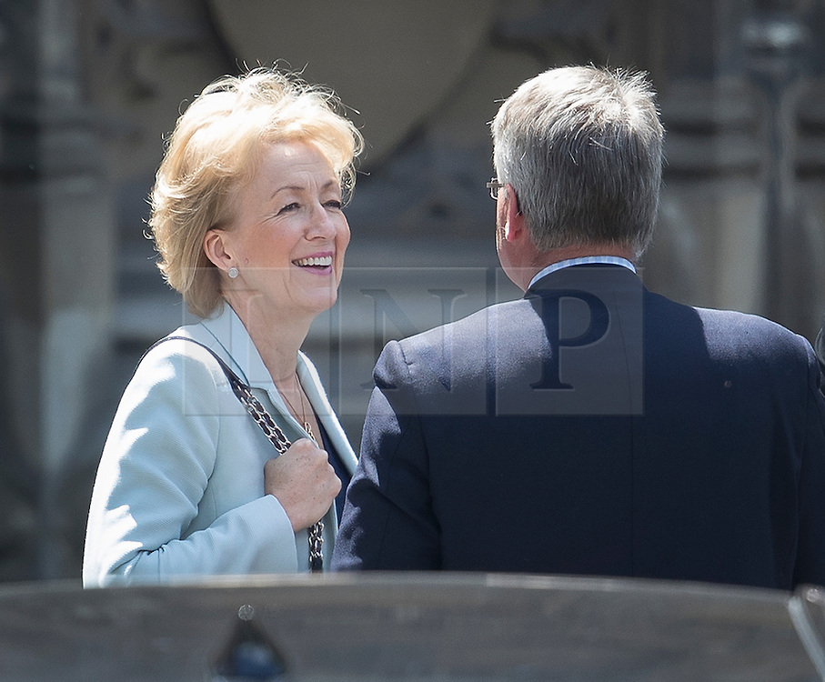 © Licensed to London News Pictures. 07/07/2016. London, UK.  Conservative party leadership candidate Andrea Leadsom talks to Tim Loughton MP at Parliament. A second round of voting for the leadership of Conservative party is taking place today.  Photo credit: Peter Macdiarmid/LNP