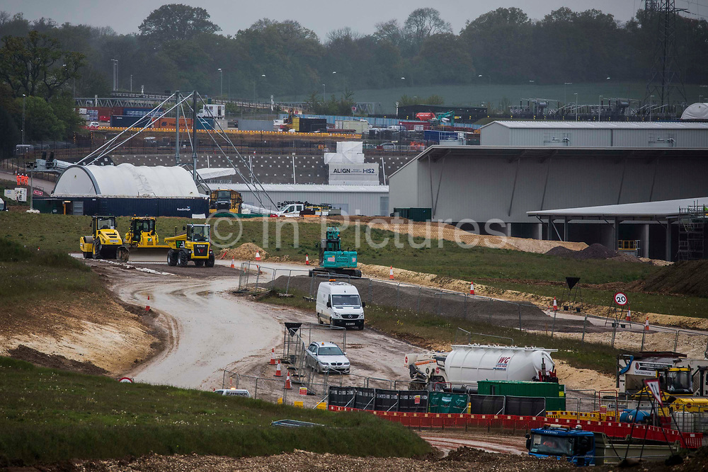 The South Portal site for the Chiltern tunnel section of the HS2 high-speed rail link is pictured on 13th May 2021 in West Hyde, United Kingdom. HS2 consortium Align today launched its first 2,000-tonne tunnel boring machine TBM, named Florence after Florence Nightingale, to begin drilling one of a pair of 10-mile tunnels under the Chilterns.