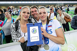 Iza Mlakar of Slovenia with family after the volleyball match between National team of Turkey and Slovenia in Gold Medal game of Womens U23 World Championship 2017, on September 17, 2017 in SRC Stozice, Ljubljana, Slovenia. Photo by Morgan Kristan / Sportida