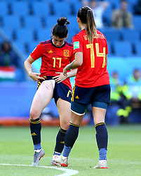 Spain's Lucia Garcia looks at her injury after South Africa's Nothando Vilakazi (not in frame) fouled her