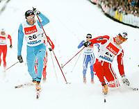 Langrenn Klassisk Sprint 1,2km , FIS World Cup Cross-Country , Drammen 05. Mars 2008 , Odd-Bjørn Hjelmeset blir slått av Johan Kjølstad i mennenes B-finale , Foto: Thomas Andersen , Digitalsport