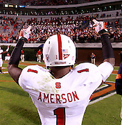 Oct. 22, 2011 - Charlottesville, Virginia - USA; North Carolina State Wolfpack cornerback David Amerson (1) signals to fans during an NCAA football game against the Virginia Cavaliers at the Scott Stadium. NC State defeated Virginia 28-14. (Credit Image: © Andrew Shurtleff