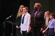 """19 January 2015-Santa Barbara, CA: The Arlington Theater Program; Essay/Poetry Winners-Ages 6-12 with Sojourner Kincaid Rolle and Amanda Kramer.  <br /> Essay - Ages 6-12<br /> 1st    Jaiani Hammonds      Franklin <br /> 2nd  Allison Mooney        Roosevelt<br /> 3rd   Maddie Fitz             Roosevelt <br /> 3rd   Charlie Hess            Roosevelt<br /> <br /> Poetry - Ages 6-12<br /> 1st   Celene Sanchez        Roosevelt<br /> 2nd  Lola Crane-Flores    Roosevelt<br /> 3rd   Owen Rybnicek        Roosevelt<br /> 3rd   Jeffrey Helman         Roosevelt<br /> <br /> Santa Barbara Honors Dr. Martin Luther King Jr. with a Day of Celebration.  The Santa Barbara MLK, Jr. Committee chose """"Drum Majors for Justice"""" as it's theme for the day which included a Pre-March Program in De la Guerra Plaza followed by a march up State Street to the Arlington Theater for speakers, music and poetry.  The program concluded with a Community Lunch at the First United Methodist Church in Santa Barbara.  Photo by Rod Rolle"""