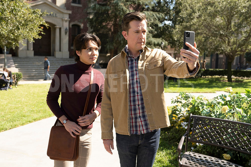 """RUTHERFORD FALLS -- """"Negotiations"""" Episode 106 -- Pictured: (l-r) Jesse Leigh as Bobbie Yang, Ed Helms as Nathan Rutherford --   (Photo by: Colleen Hayes/Peacock)"""