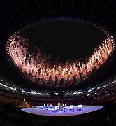 Fireworks during the Opening Ceremony of the Tokyo 2020 Olympic Games. Tuesday 27th July 2021. Mandatory credit: © John Cowpland / www.photosport.nz