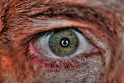 Extreme closeup of a human eye gray