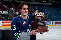 KELOWNA, CANADA - APRIL 30:Mathew Barzal #13 of the Seattle Thunderbirds holds the Western Conference Cup on April 30, 2017 at Prospera Place in Kelowna, British Columbia, Canada.  (Photo by Marissa Baecker/Shoot the Breeze)  *** Local Caption ***