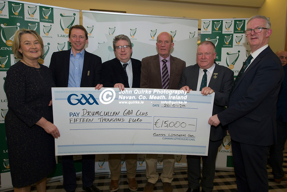 20-01-20. Leinster GAA Club Development Grant Cheque Presentations (See Press Release) at Aras Laighean, Portlaoise.<br /> GAA National Finance Manager Kathy Slattery and Jim Bolger (2nd. Right), Cathoirleach, Comhairle Laighean pictured presenting a cheque for €15,000 to Drumcullen GAA Club. Co. Offaly represented by from left, Peter Lyons, Treasurer. Dermot Horan, Secretary, Joe O'Brien, Committee  and Pat Teehan, Leas Cathoirleach, Leinster GAA.<br /> Photo: John Quirke / www.quirke.ie<br /> ©John Quirke Photography, Unit 17, Blackcastle Shopping Cte. Navan. Co. Meath. 046-9079044 / 087-2579454.