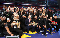 Anthony Joshua post fight with friends and family following the IBF, WBA and IBO Heavyweight World Title bout against Wladimir Klitschko at Wembley Stadium, London.