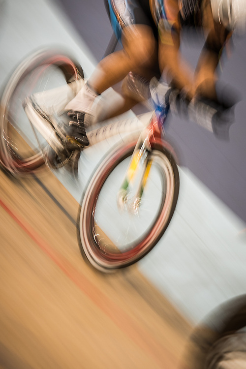 A rider practices on his bike at the Velo Sports Center in Carson CA on November 3, 2016.