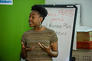 Jamaica, NY - 20 July 2017. Business plan presentations of the second cohort of the 12-week Jamaica FEASTS program at the Queens Public Library. Participant Sevon Blake presenting her plans for a food co-op for Queens.