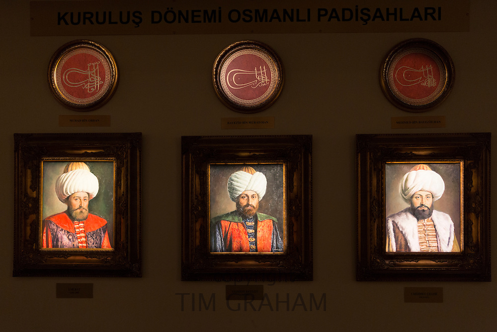 Sultan portrait paintings of the Ottoman Empire Murat, Yildirim Bayezit, Mehmet Celebi at Military Museum, Istanbul, Turkey