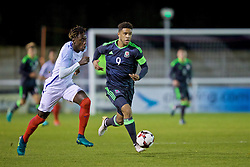 BANGOR, WALES - Saturday, November 12, 2016: Wales' captain Tyler Roberts in action against England's Trevoh Chalobah during the UEFA European Under-19 Championship Qualifying Round Group 6 match at the Nantporth Stadium. (Pic by Gavin Trafford/Propaganda)