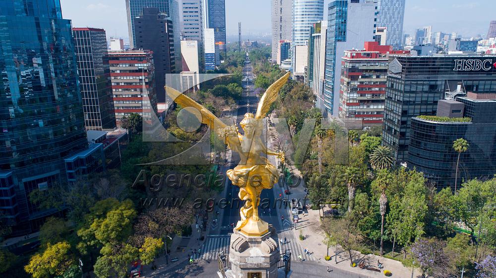 Ciudad de México.- Imagen aerea del Angel de la Independencia en el Paseo de la Reforma de la CDMX (imagen tomada con drone). Agencia MVT / Mario Vázquez de la Torre.
