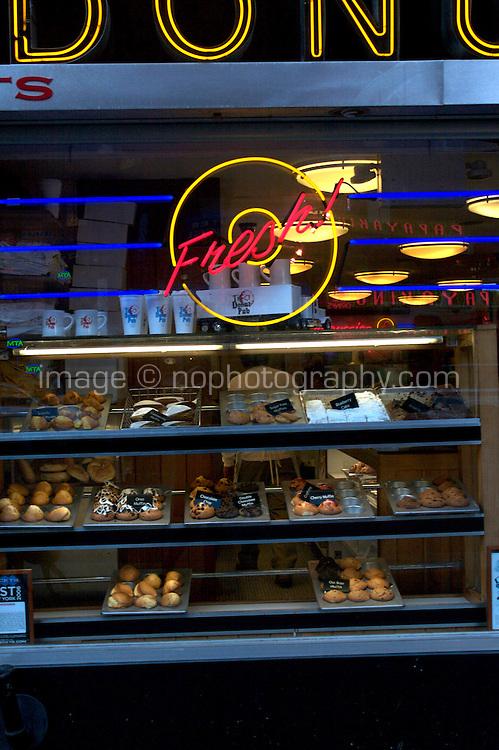 Window display of a donut shop in Manhattan New York