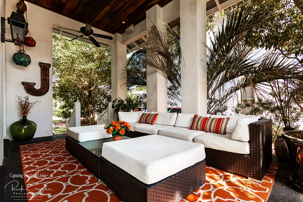 An outdoor relaxing seating area
