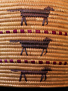 Details of oblong Yupik grass basket with seal gut imbrication and fox design, Alaska.