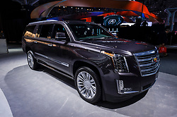NEW YORK, USA - MARCH 23, 2016: Cadillac Escalade on display during the New York International Auto Show at the Jacob Javits Center.